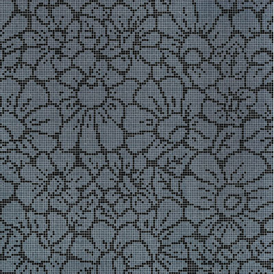 Bisazza Mosaico Decori 10 - Graphic Flowers Graphic Flowers Black